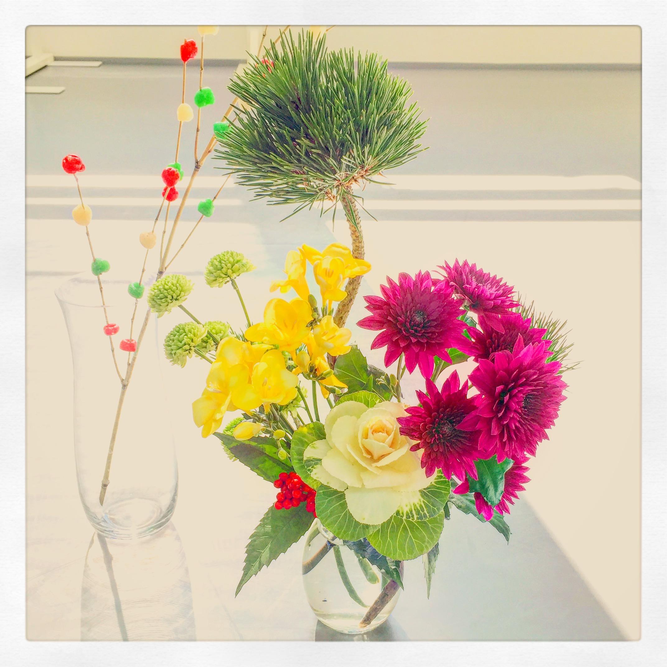 お正月の花飾り